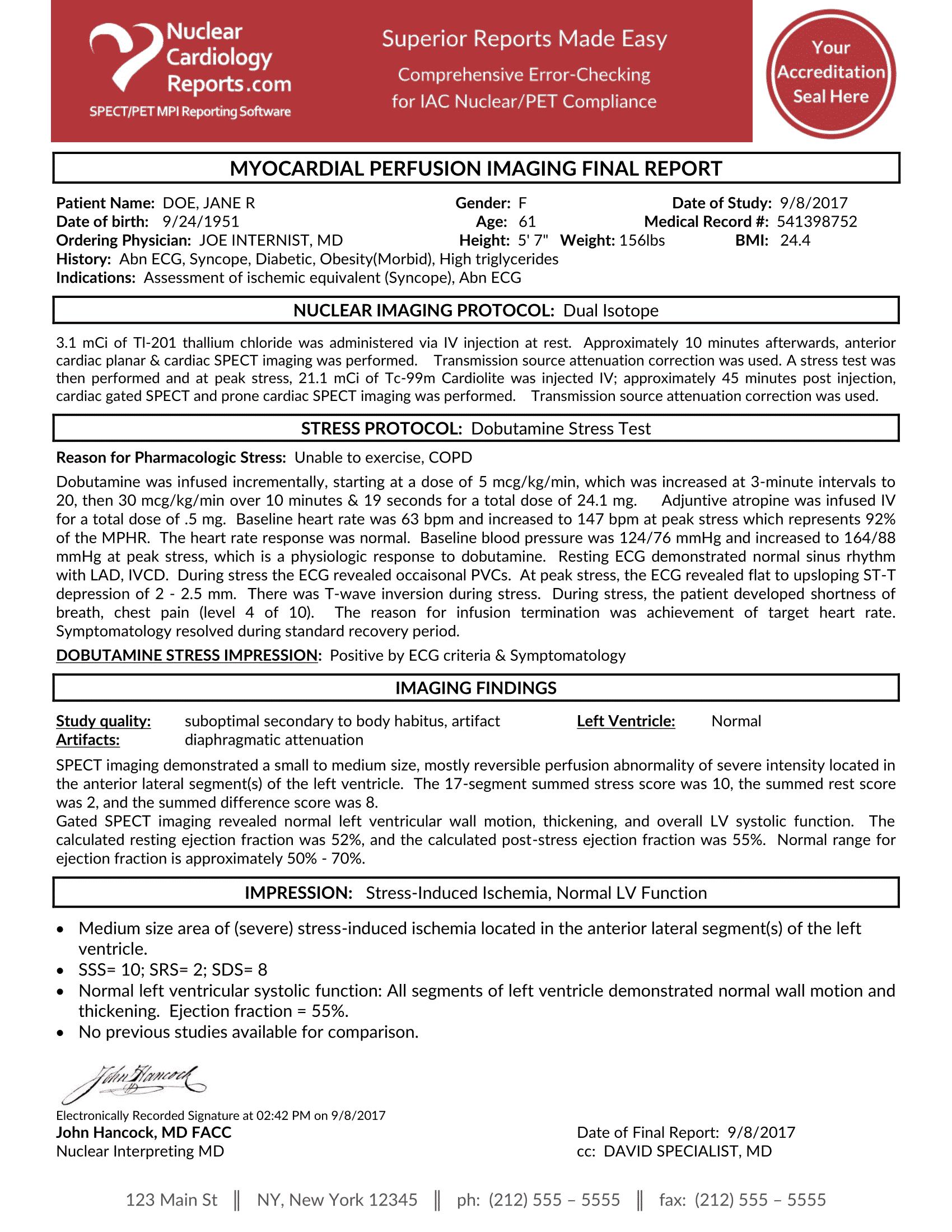 Dobutamine Dual Isotope