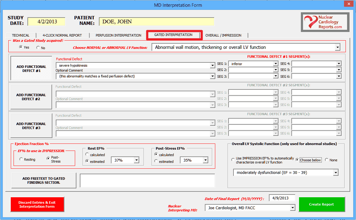 Nuclear Cardiology Reporting Software- Wall Motion & Ejection Fraction Screenshot