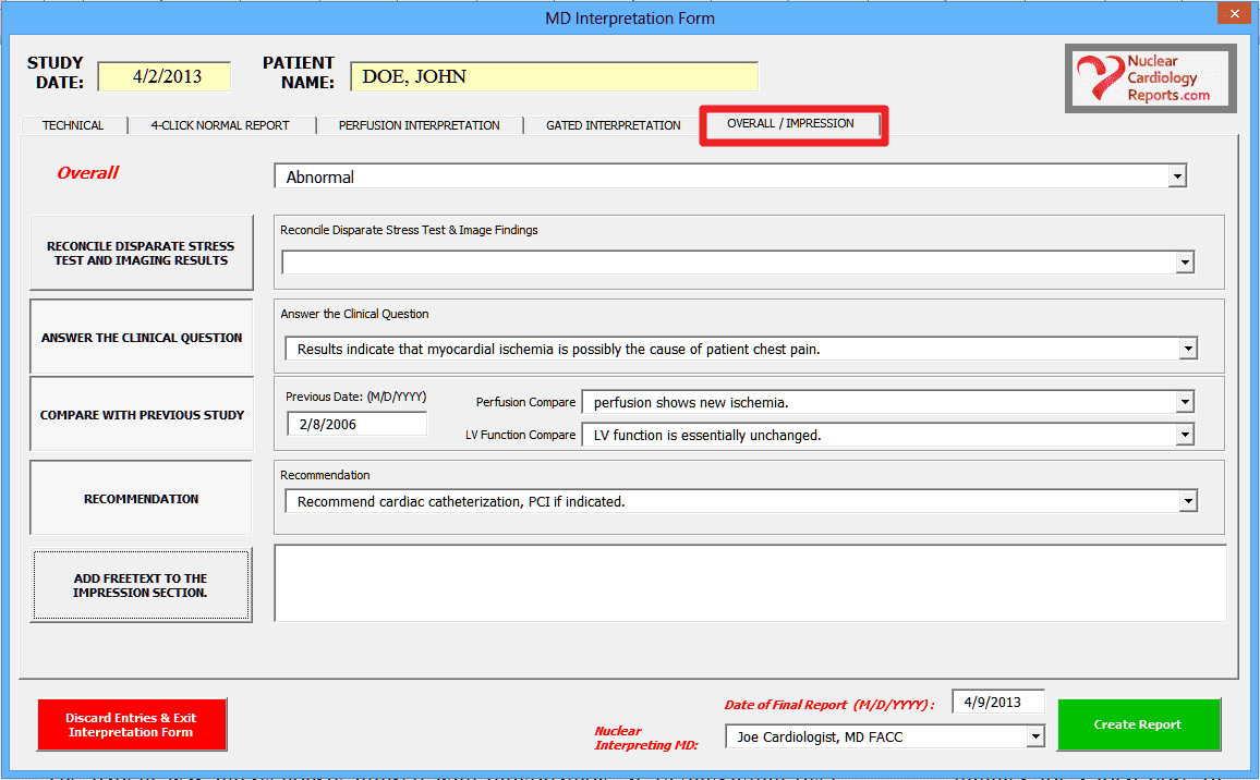 ICANL Compliant Report Impression Section GUI