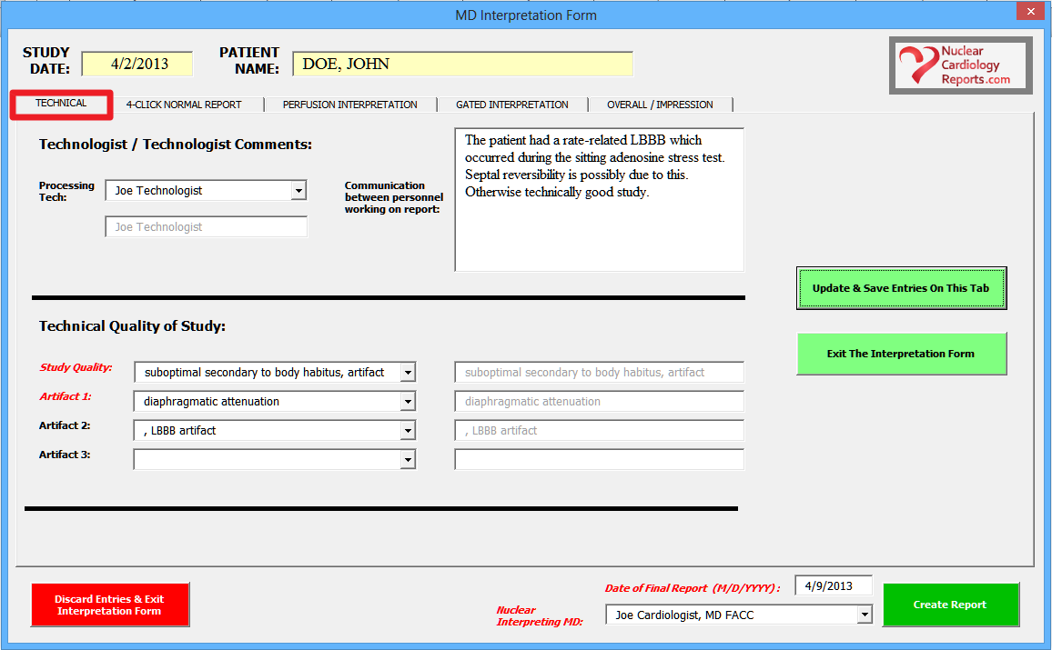 Nuclear Cardiology Reporting Software- Technical Quality & Artifacts Screenshot
