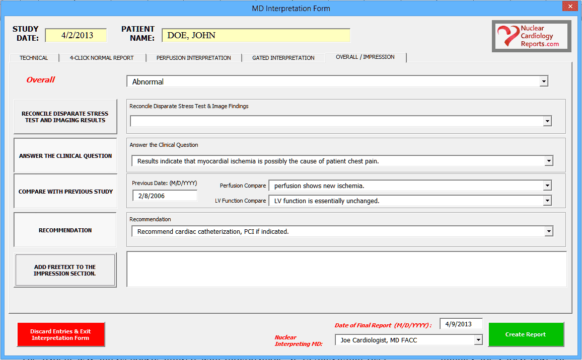 Nuclear Cardiology Reporting Software- Overall Impression Screenshot
