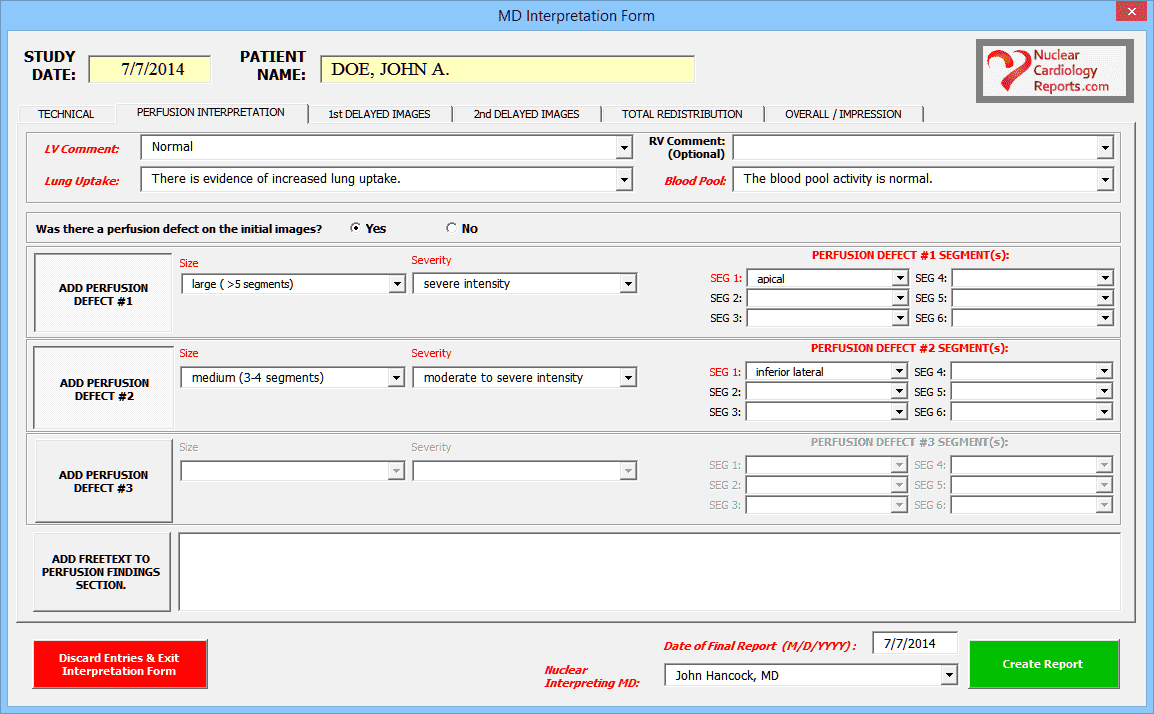 Nuclear Cardiology Report Template Thallium Viability Initial Perfusion Screenshot