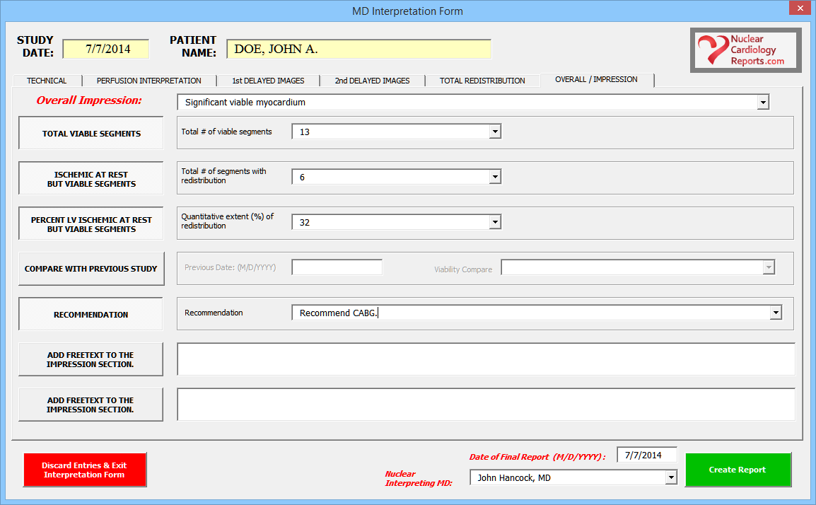 Nuclear Cardiology Reporting Software Viability Impression