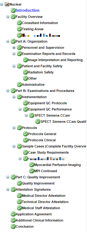 ICANL Online Application Sections