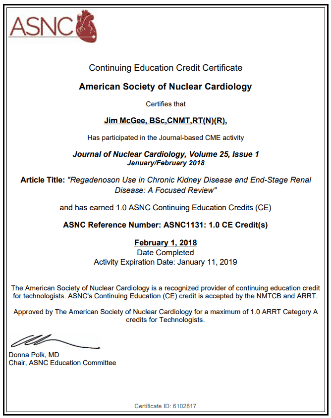 Free Nuclear Medicine Ce Credits From Asnc For Members