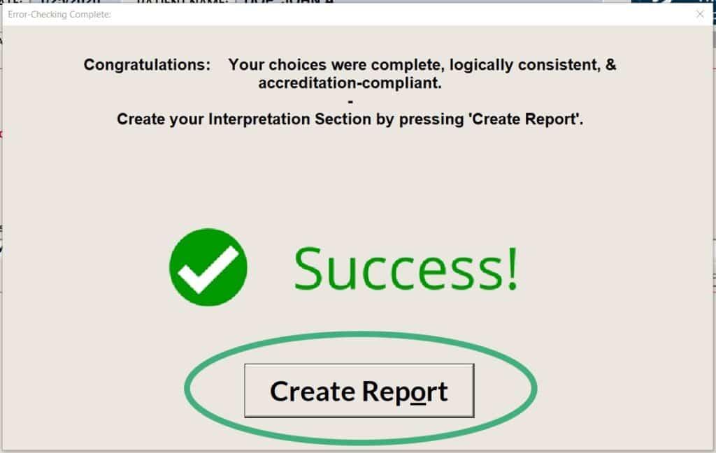 Click Create Report for Interpretation