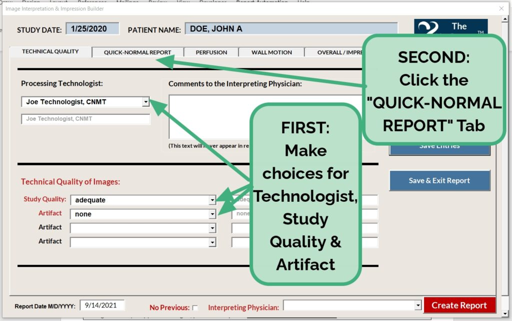 Complete Technical Tab Go to Quick-Normal
