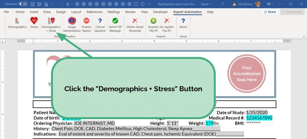 Click the Demographics + Stress Button